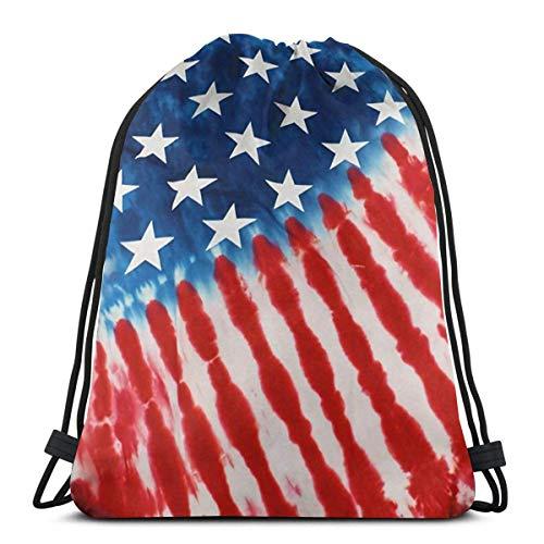 Elsaone Pinte la Bandera de América Mochila con cordón Mochila Bolsa de Saco Cincha Resistente al Agua Poliéster Gympack para Acampar Senderismo Natación