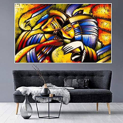 Gymqian Pintura de Arte Abstracto Cara Amor Pintura en Lienzo Carteles e Impresiones Cuadro de Arte de Pared Moderno para Sala de Estar decoración del hogar 45x60cm sin Marco