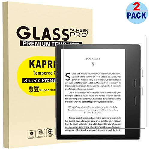 KAPRNA Screen Protector for All-New Kindle Oasis (9th and 10th Generation ONLY, 2017 and 2019 Release) [High Definition], Tempered Glass Film for All-New Kindle Oasis 2019,2-Pack