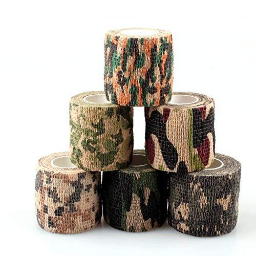 MEIWO Camouflage Tapes, 6 Rolls Selbstklebende vlies Camouflage Grip Military Tape für Outdoor Camping Jagd Pistolen Fahrrad Kamera
