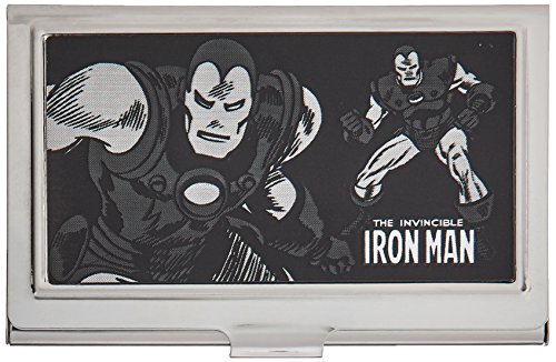 Buckle-Down Business Card Holder - THE INVINCIBLE IRON MAN Action Poses Brushed Silver - Small