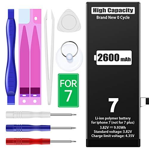 2600mAh Batteria per iPhone 7, MNT Sostituzione ad alta capacità rispetto ad altri, Ultima versione, strumenti di riparazione professionali completi, istruzioni