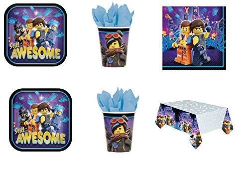 Lote de Cubiertos Infantiles'Movie' (16 Vasos, 16 Platos, 20 Servilletas y 1 Mantel.Vajillas y Complementos. Juguetes para Fiestas de Cumpleaños, Bodas, Bautizos y Comuniones.
