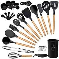 charlemain set utensili cucina silicone, 35 pezzi utensili da cucina in silicone antiaderente, utensili cucina silicone con supporto, manico in legno set di utensili da cucina in silicone (nero)