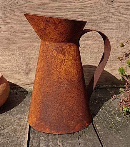 terracotta-toepfe-de Deko Kanne 20 cm hoch aus Metall Edelrost Rost Garten Pflanzgefäß Blumentopf Landhaus Shabby chic Vintage Pflanzgefäß
