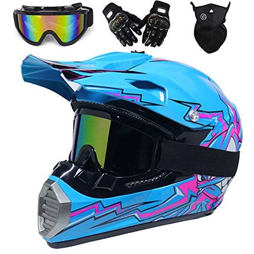 QYTK® Motorradhelm Motocross Helm Kinder Schwarz und Weiß, MT-60 Full Face Off-Road Motorrad Cross Helme mit Brille Maske Handschuhe, Motorbike MTB Freien Sport Motorcycle Helmet Set,M(54~55CM)