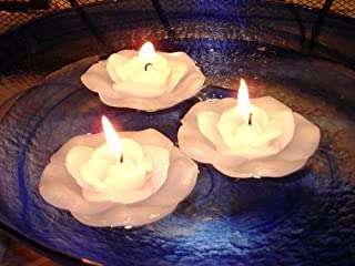 12 White Rose Floating Flower Candles - Wedding
