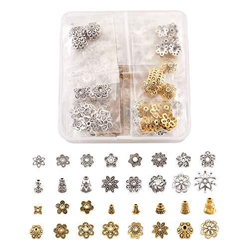 Cheriswelry 320 tapas tibetanas de cuentas con forma de flor de filigrana, con borla, terminadores para joyería y pulseras (plata envejecida/dorada)