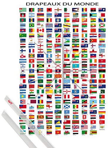1art1 Flaggen Der Welt Poster (91x61 cm) Ländernamen Und Hauptstädte, In Französisch Inklusive EIN Paar Posterleisten, Transparent