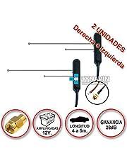 Pareja de antenas de TDT (televisión digital terrestre) amplificadas a 12V con conector SMA y ganacia de 28dB