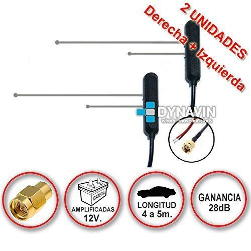 Pareja de antenas de TDT (televisión digital terrestre) amplificadas a 12V con...