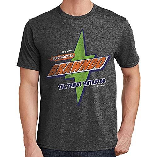 Brawndo Distressed Es hat Elektrolyte Herren- und Jugendmode Baumwolle Rundhalsausschnitt T-Shirt T-Shirt Druck T-Shirt Freizeitoberteile Heather Dark Grey Large