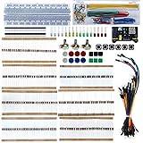 TeOhk Kit Inicial de ElectróNica MB102 Breadboard, Resistencia, Cables de Puente, Diodos LED, PotencióMetro de PrecisióN, Interruptor de Tapa TáCtil