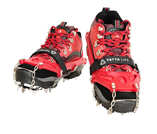 Yatta Life Heavy Duty 14-Spikes Ice Grip Trail Spikes Snow Cleats Footwear Crampon for Walking, Jogging, or Hiking on Snow and Ice(Medium (Navy Blue)