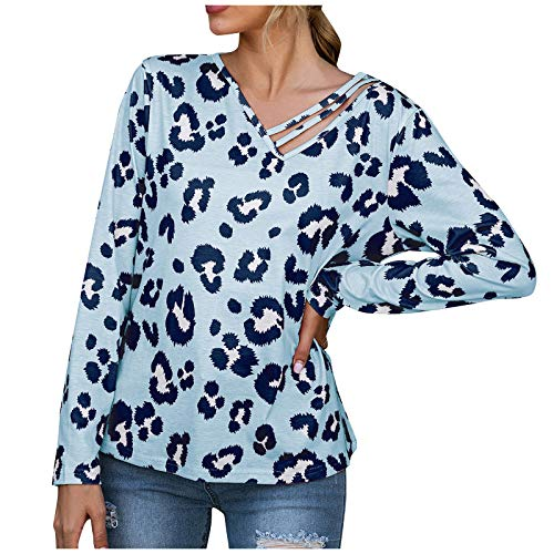 Blusas Mujer, Casual O Cuello Leopardo Sudaderas Camisetas Manga Larga Invierno de Mujer Primavera Otoño Tops