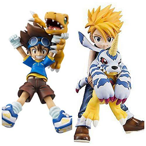 Qwead 2 Pezzi Japan Anime Digimon Adventure Peripherals Action Figure 10Cm, PVC Taichi Yagami Agumon Gabumon Boxed Figure Figurine Model