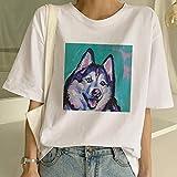 XBRTFH Maglietta Ladies Harajuku Maglietta a Maniche Corte per Cani Pittura a Olio per Cani Maglietta per Cani di Razza Carina