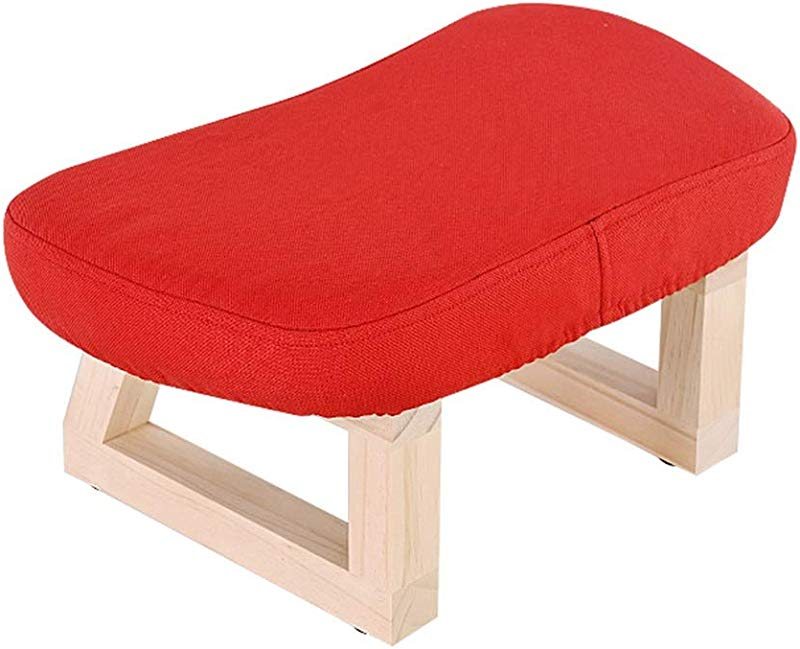 Creative Ottoman And Pouffe Solid Wood Footstool Footrest For Children With Wooden Legs And Linen Cover Red