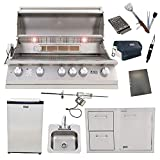 Lion 40-Inch Liquid Propane Grill L90000 with Refrigerator and Door and Drawer Combo and Drop-In Sink with and 5 in 1 BBQ Tool Set Best of Backyard Package Deal