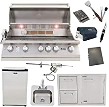 Lion 40-Inch Natural Gas Grill L90000 with Refrigerator and Door and Drawer Combo and Drop-In Sink with and 5 in 1 BBQ Tool Set Best of Backyard Package Deal