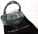 Adrienne Vittadini Silver & Black Iridized Metallic Leather Evening Purse Handbag