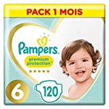 Couches Pampers Taille 6 (13+ kg) - Premium   Protection Couches, 120 couches, Pack 1 Mois