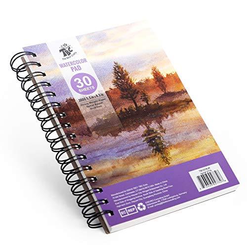 TBC The Best Crafts Libro de acuarelas con espiral, 30 hojas, 15 x 20 cm, para niños y adultos, artistas