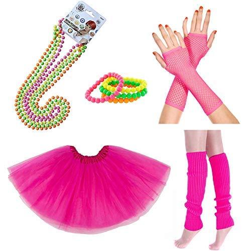 iLoveCos 80s Accesorios de Disfraz para Fiestas Neón Custome Disfraz Guantes Girls Women Night out Party (CC1)