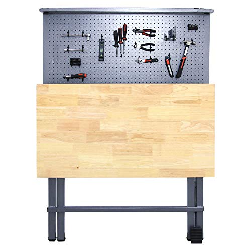 Might Foldable Heavy Duty Workbench and Garage Tool Organizer | Holds up to 750 pounds, for Power Tool Organization Storage Woodworking Electronics, Stainless Steel Pegboard, Anti-Rust/Corrosion