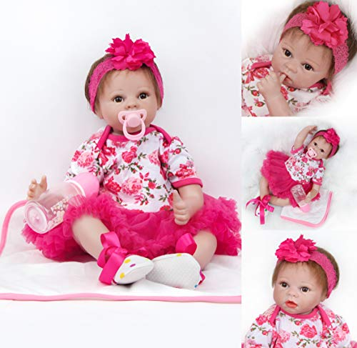 ZIYIUI Reborn Muñeca 22 Pulgadas Renacer de Silicona Suave Realista Niña Bebe Recién Nacido Muñecos 55cm Falda roja Ojos Abiertos Muñeca Juguete Regalo para Niños Hecho a Mano