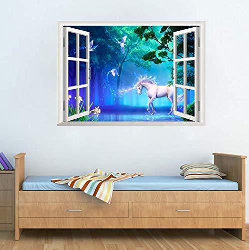Ventana Falsa 3D Decorativo Bosque Unicornio Pegatinas De Pared Habitación Dormitorio...