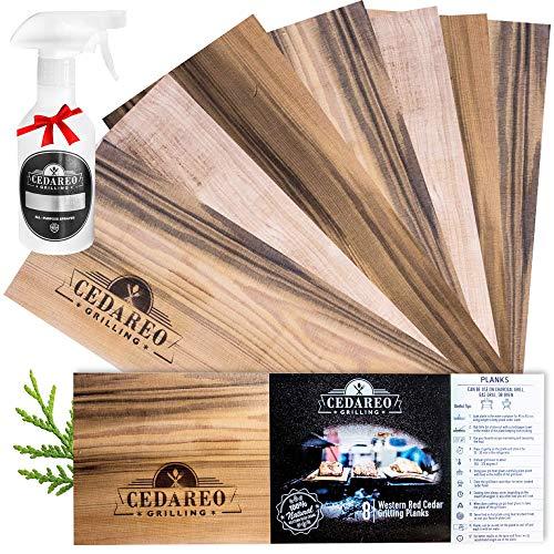 CEDAREO - Cedar Grilling Planks Kit - 8 Natural 100% Cedar Aroma Boards for Cooking Salmon, Shrimp, Fish, Meats, Vegetables, Cocktail Drinks & Non-BPA Spray Water Bottle