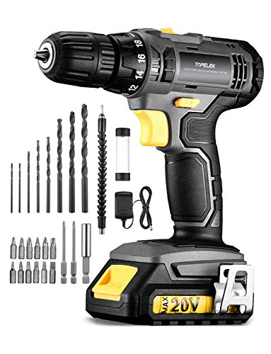 TOPELEK Cordless Drill, Power Drill 20V MAX Lithium-Ion Cordless Drill/Driver Set, Drill Kit with 27pcs Accessories, LED, 2-speeds, 18+1 Torque Settings,Accessories tools for Home Improvement