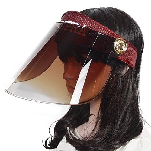 Mujeres UV Protección Sombrero Solar Visera Gorra Verano Anti-UV Sombrero (Burdeos)