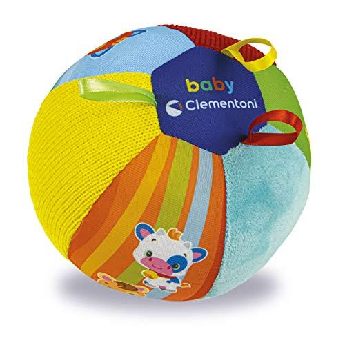 Clementoni friends ball tessuto per neonati, musicale animali-palla morbida per gattonare, bambini 3 mesi+, Multicolore, 17464