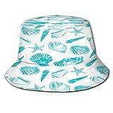 PUIO Cappello da Pesca,Acquaforte Grafica vettoriale Disegnata a Mano di Conchiglie,per Cappello da Sole da Viaggio Canottaggio Cappello da Pesca Cappello da Pescatore