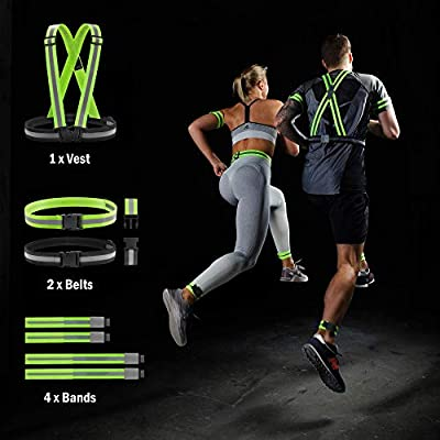 Reflective Running Gear Safety Vest - 7 Pack Superset High Visibility Reflective Belt, Bands, Strap for Men, Women & Kids - Hi Vis Bag, Night Bike Cycling