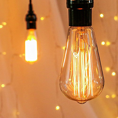 Edison Light Bulbs, 6Pcs Vintage 60 Watt Incandescent Light Bulbs E26 Base Dimmable Decorative Antique Filament Light Bulbs 252 Lumens, Amber Warm