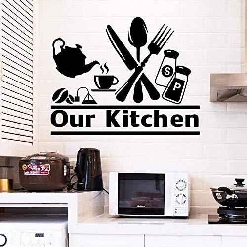 Pegatinas De Pared,Disfruta De La Cocina Cocina Diy Patrón De Cuchillo Y Tenedor Cocina Decoración Del Hogar Pegatinas De Pared Impermeables De Pvc 28X42Cm