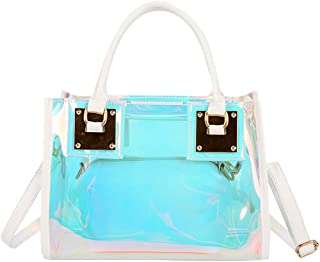 Sameno Clear Bag ✿ Womens 2 in 1 Transparent Sequin Tote Bag PVC Plastic Waterproof Crossbody Shoulder Bag with Adjustable...