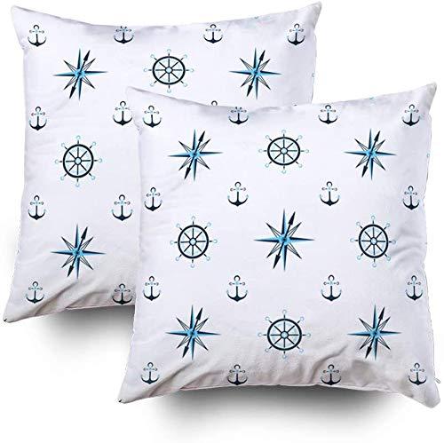 My Pillow Fundas, Capitán Rueda Anclaje Agua, Brújula Marinera, Fondo Náutico, Patrón sin costuras, 20 x 20, paquete de 2 fundas de almohada para decoración del hogar con cremallera para sofá