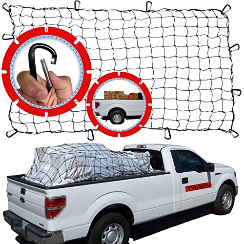 TWIRON - Truck Bed Cargo Net - 4'x6' Pickup Bed Net - Bungee Net for Truck Bed with 4'x4' Mesh Netting - Truck Bed Net for Efficient Storage - Holds Large and Small Loads Securely