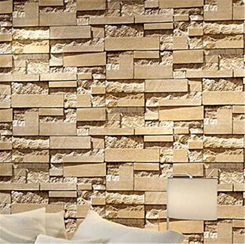 Halloween Tapete - Wandtapete Modern Stacked Brick 3D Stone Wallpaper roll Grey Brick Wall Background for Living Room PVC Vinyl Wall Paper Stereoscopic Look@WP07102_Yellow