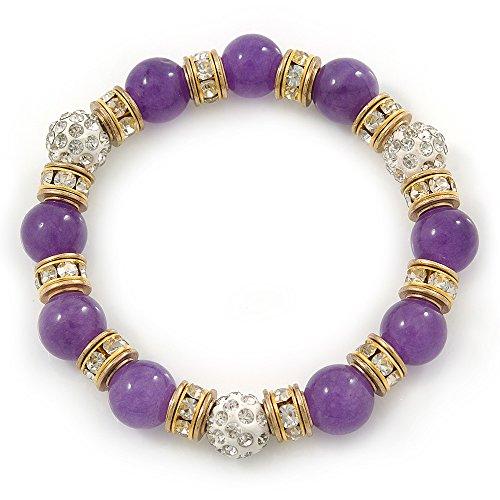 Avalaya - Pulsera flexible con piedras de ágata moradas, 10 mm, cristal dorado y bolas de cristal blanco, 17 cm de largo