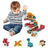 Arkmiido 90 PCS Puzzle Blocks 4 en 1 Dinosaurios 3D Puzzle Juguetes educativos tempranos intelectuales compatibles con Las Principales Marcas de Gran tamaño para niños Mayores de 3 años