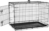 AmazonBasics Single Door Folding Metal Dog Crate Kennel with Tray, 36...
