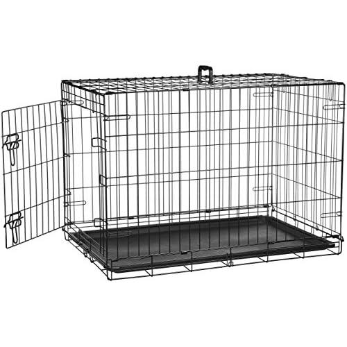 AmazonBasics - Gabbia in metallo richiudibile, per cani, Portiera Singola, 91 cm