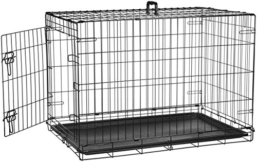 AmazonBasics Single Door Folding Metal Dog Crate Kennel with Tray, 36 x 23 x 25...