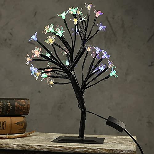LATOO Lámpara de Mesa AC110-220V 40cm LED Cherry Blossom Tree Lights Lámpara de Mesa Luces de Noche para la decoración de la Boda de Hadas de Año Multicolor