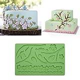 Molde de silicona para hornear fondant, diseño de flores, hojas, ramas, pájaros, flores